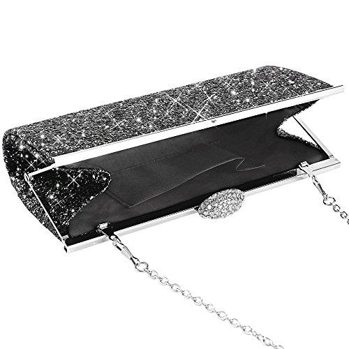 Gold Fashion Evening Bridal Silver Wocharm Prom Handbag Bag Party Sparkly Womens Black Black Clutch Glitter Purse 0ngdBgwq
