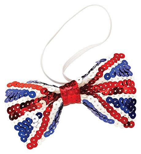 Bristol Novelty BA908 Union Jack Sequin Bow Tie, One -