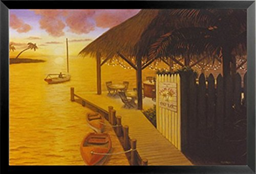 Buyartforless Work Framed Five O'clock Somewhere by David Morracco 24×36 Art Print Poster Tropical Paradise Ocean Tiki…