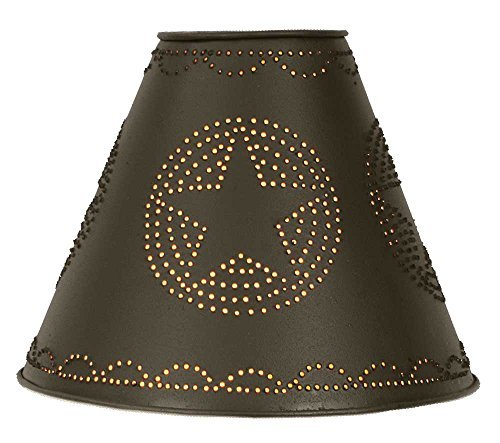 "4"" x 10"" x 8"" Punched Tin Star Lamp Shade in Rustic Brown"