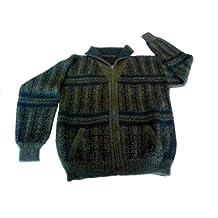 Alpakaandmore Men Turtleneck Cardigan Sweater, Alpaca Wool Douple Knitted Green