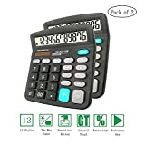 Basic Calculator,12-Digit Dual Power Handheld Desktop Calculator with Large LCD Display big sensitive button (Black,Pack of 2)