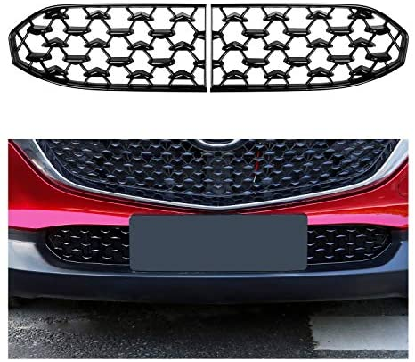 CDEFG CX30 Front Grill Mesh Inserts Trims Front Grille Guard for 2019 2020 Mazda CX30 Car Exterior Accessories ABS Material(2PCS)
