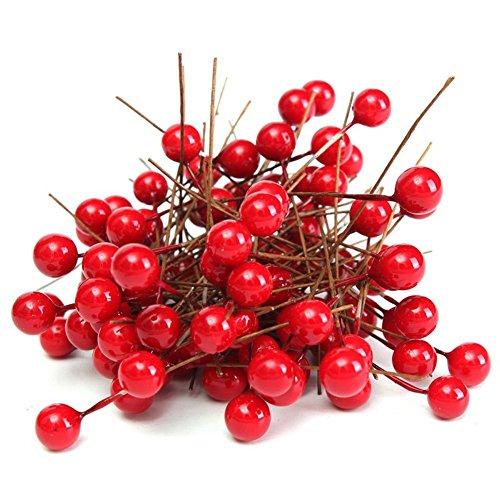 Vivian 100PCS Red Fruit Berry Holly Artificial Flower Pick Christmas DIY Home Decor