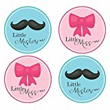 Bow and Mustache Gender Reveal Sticker Labels - Little Mister and Miss Baby Shower Party - Set of 30