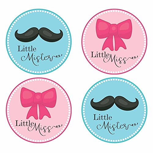 Bow and Mustache Gender Reveal Sticker Labels - Little Mister and Miss Baby Shower Party - Set of 30 by Adore By Nat