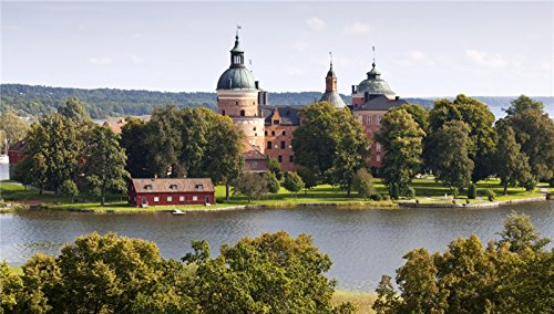 Sweden Castles Rivers Trees Gripsholms Cities. wallpaper wall stickers wall murals quote printing art vinyl decal (Gripsholm Castle)