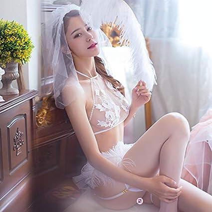 WXNLEAI Pura novia sexy ropa interior pequeño cofre princesa sexy uniforme de tres puntos traje de