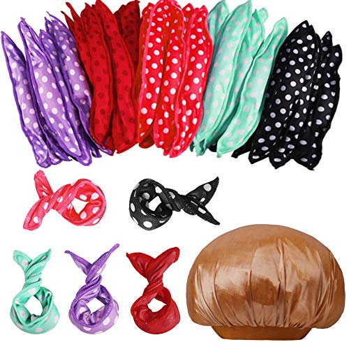 Anezus 40 Pieces Hair Rollers Night Sleep Foam Hair Curler Rollers with 1 Pcs Sleeping Cap, Soft Pillow Hair Rollers DIY Sponge Hair Styling Rollers Tools, 5 Colors