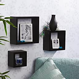Melannco Square Wood Shelves, Set of 3, Black
