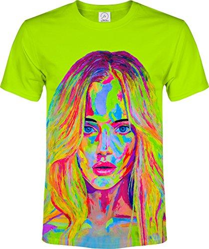 aofmoka Green Model Holywood 70's Teen Youth Curly Hair Idol Blacklight UV Neon Reactive Fluorescent T-Shirt, Size Large