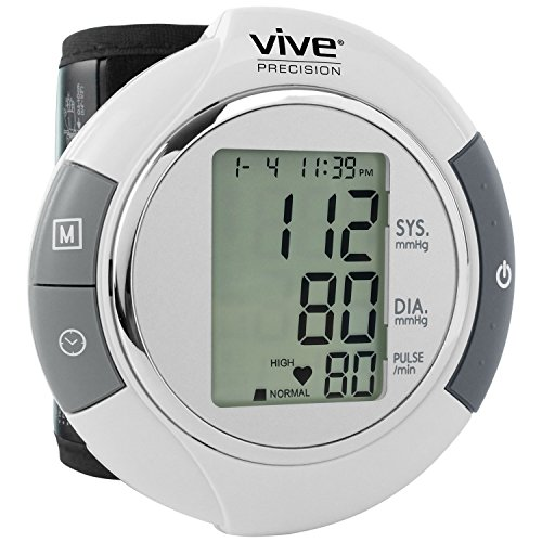 Wrist Blood Pressure Monitor by Vive Precision - Automatic Digital BP Tester Machine - Portable, Accurate, Electronic, Home Meter Device - Auto Heart Reader for Pulse Rate - 1 Size Fits Most by Vive Precision