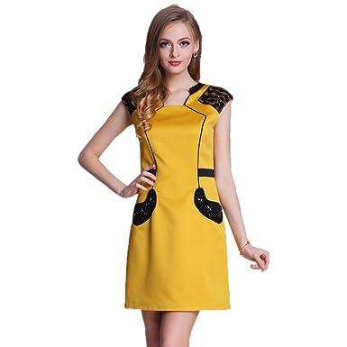 Cotyledon Women S Patchwork Style Dresses Sleeveless Square Cut
