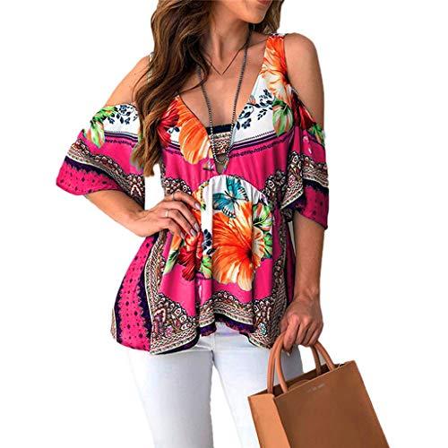DaySeventh Summer Deals 2019 ! Fashion Womens Short Sleeve V-Neck Folk Custom T-Shirt Casual Tops Hot Pink ()
