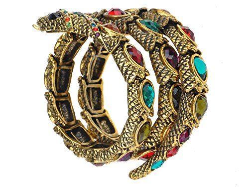 (Alilang Egyptian Snake Cuff Wrap Bracelet Stretch Golden Tone Rhinestones Colorfu)