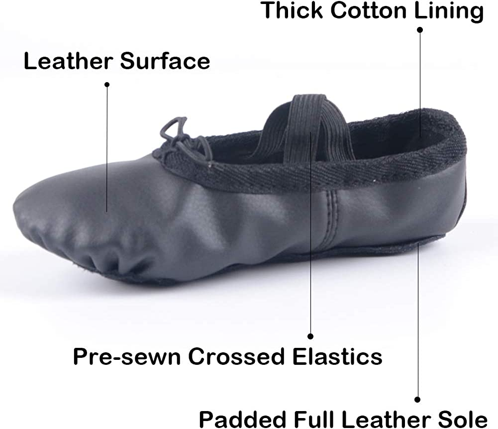 Full Sole Leather Ballet Slippers//Dance Shoes Ruqiji Leather Ballet Shoes for Girls//Toddlers//Kids//Women