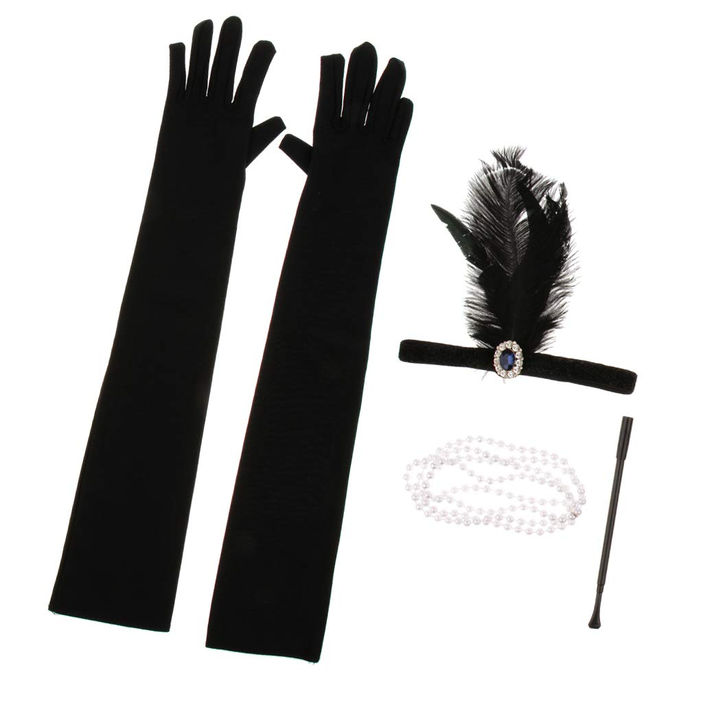Fenteer Set De Accesorios De Disfraz De Flapper De Los A/ños 20 Soporte Para Cigarrillos Que Incluye Mujeres Collar a tal como se describe Guantes