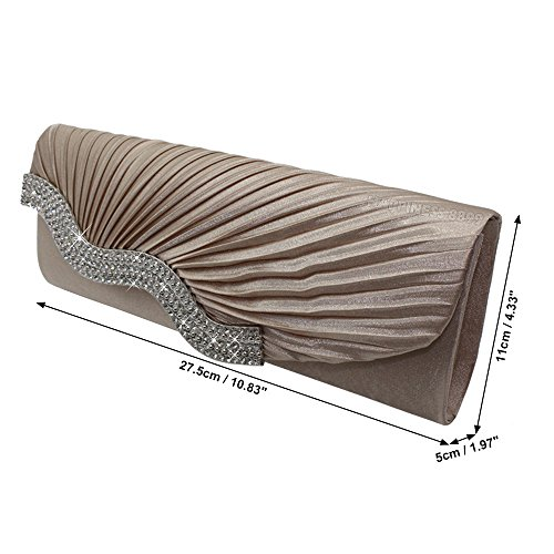 Party Handbag Wedding Diamante Prom apricot Crystal Satin Ladies Evening Bag Womens Clutch Wocharm ZXPZqH