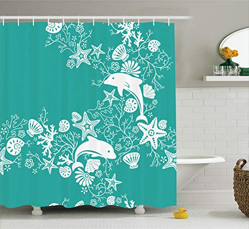 Ambesonne Sea Animals Shower Curtain, Dolphins Flowers Sea Life Floral Pattern Starfish Coral Seashell Wallpaper, Fabric Bathroom Decor Set with Hooks, 70 Inches, Sea Green