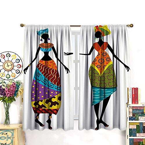 (DESPKON African Woman Curtains Tribal Ladies in Traditional Costume Silhouettes Ethnicity Vintage Thermal Insulated CurtainsLiving Room Window Drapes 2 Panel Set,55 W X 63 L Inches,)