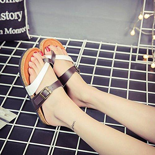 Clip Décontractée De Ete Plage Blanc Pour Tongs Toe Femme Sandales Noir Sangle Chaussons Zkoo Chaussures wqXzf7xTw
