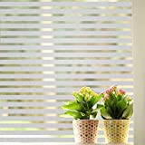Coavas Stripes Frosted Window Film Static Cling Privacy Window Cling Stained Glass Decorative Films for Home Office Meeting Rooms Glass Window Doors