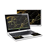 MightySkins Protective Vinyl Skin Decal for Acer Chromebook R11 Case wrap cover sticker skins Black Gold Marble