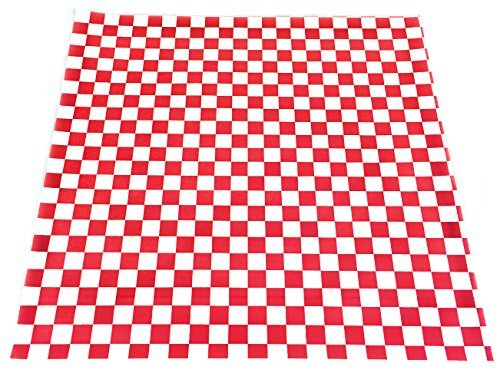 CucinaPrime Food Basket Liner, 12 Inches by 12 Inches, 100 count, Red and White Checkered ()