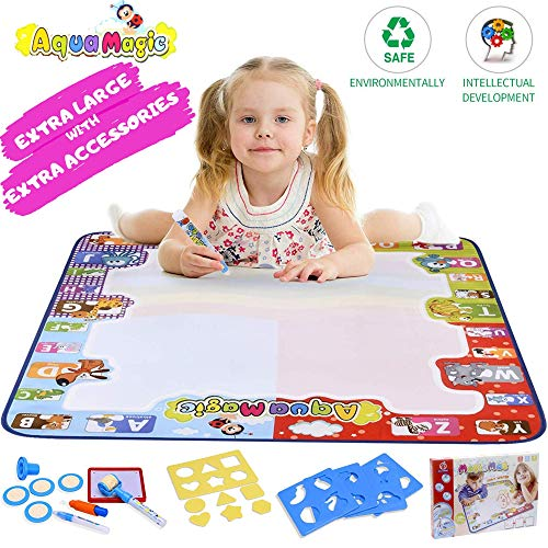 Aqua Magic Water Doodle Drawing Mat for Toddlers Large Size 30.7'x30.7' inches Perfect Educational Toys for 2 Years and Above with Extra Accessories 21 Pcs