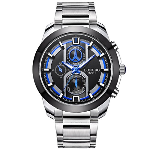 Sportivo Mens Stainless Steel Watch - LONGBO Mens Fashion Business Wrist Watches Stainless Steel Starp Luminous Sportive Miliatry Analog Quartz Watch For Men - 80011 Black