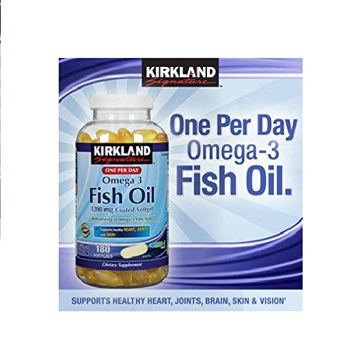Kirkland omega 3 enteric coated 1200mg fish oil 180 for How much fish oil a day