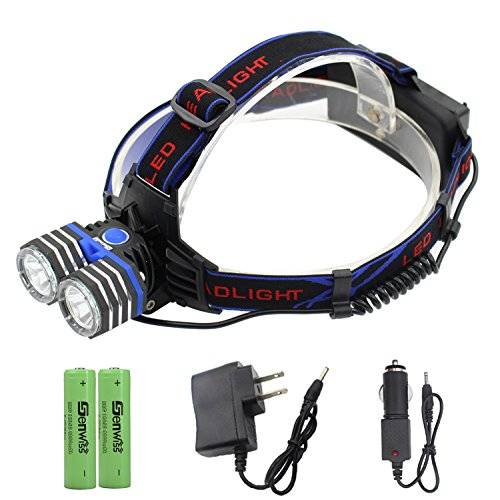 Led Rechargeable Headlamp, Genwiss Brightest Head Lamp, 2000 Lumen Waterproof Headlight, 2 x T6 Headlamp Flashlight with USB Port for Phone Charging as Power Bank for Camping Biking Hunting Outdoor