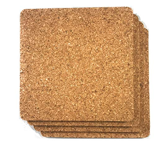 "Cork Drink Coasters 1/8"" Thick Square 30 Pack - Home Bar and Kitchen Essential - Blank Reusable Absorbent Eco-friendly DIY Project Tile Craft Board - Restaurant Cafe Wedding Supplies and Accessories"