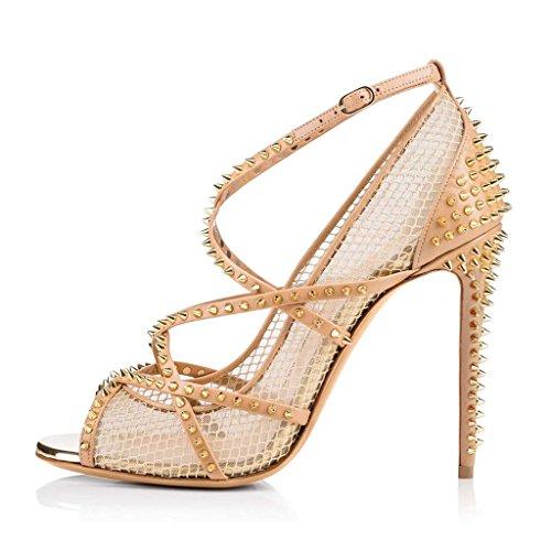 SHEO sandalias de tacón alto Las sandalias de remache de tacón alto de la red de pesca atractivas de las mujeres pescan los zapatos solos de la boca Color