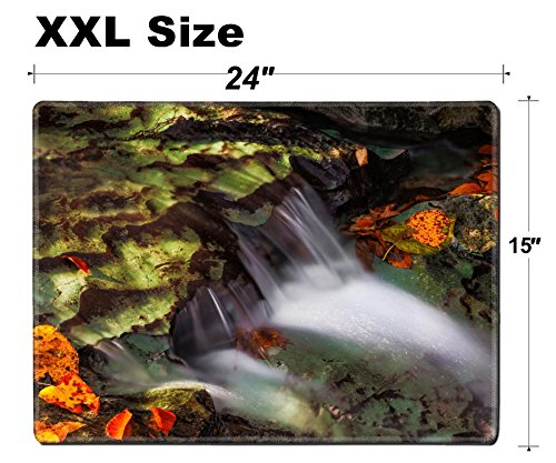 Luxlady Extra Large Mouse Pad XXL Extended Non-Slip Rubber Gaming Mousepad 24x15 Inch, 3mm thick Stitched Edge Desk Mat IMAGE ID: 24058202 Water flows over a limestone ledges in a creek surrounded (Mat Ledge)