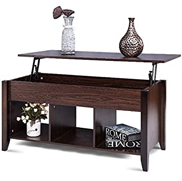 Lift Up Mechanism Design Wooden Coffee Table Hidden Storage Organizer  Compartment 3 Lower Shelves Ample