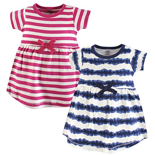 Touched by Nature Baby Girl Organic Cotton Dresses, Tie Dye Stripe Short Sleeve 2-Pack, 6-9 Months (9M)