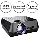 ExquizOn (2018 New Updated Mini Video Projector, 30% Lumens Brighter, New Smart Phone Mirror Function by Lighting or Micro USB Cable, 1800 Lumens Home Theater HDMI USB VGA AV TF (Gt-S9)
