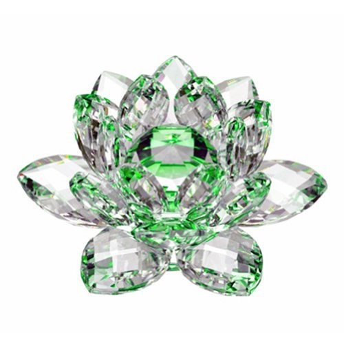 Amlong Crystal Hue Reflection Crystal Lotus Flower with Gift Box, Green (4-Inch) 15 Crystal Cut Glass