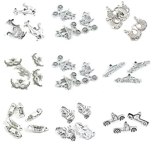 (33 Pieces Antique Silver Tone Jewelry Making Charms Truck Car Classic Sports Dining Diner Carnival Mask Pisces Carp Fish Cartoon Dinosaur )