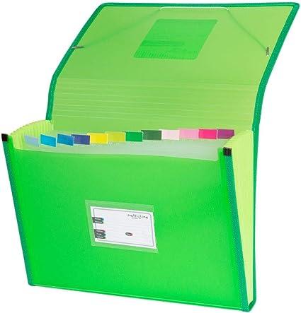 Grafoplás 02963020-Carpeta separadora con fuelle, tamaño folio, color verde: Amazon.es: Oficina y papelería