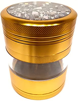 "Gold Clear Top Herb Grinder Large Four Piece Aerospace Aluminum Metal Grinders 2.5"" Wide 3.0"" Tall - Premium Grade w/ See Through Windows"