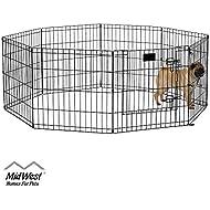 MidWest 550-24DR Foldable Metal Exercise Pen / Pet Playpen, Black w/ door, 24 W x 24 H Inches