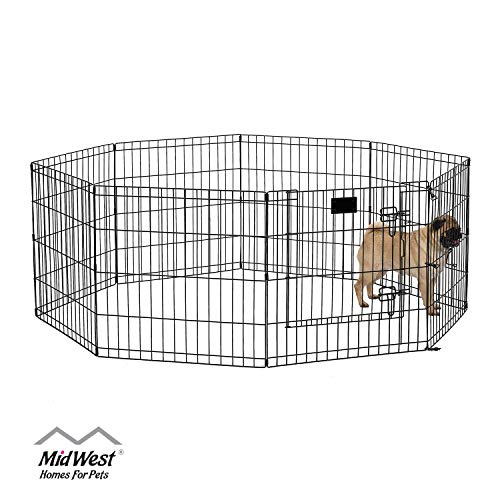 MidWest Foldable Metal Exercise Pen / Pet Playpen, Black w/ door, 24 W x 24 H Inches from MidWest Homes for Pets