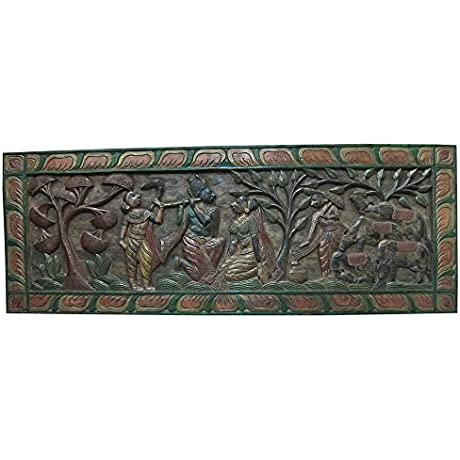 Mogulinterior Antique Headboard Radha Krishna Gopis Carved Wall Panels Furniture