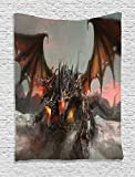 40 inch dragon wall fan - Dragon Tapestry Grey Fantasy World Decor by Ambesonne, Illustration of Three Headed Fire Breathing Dragon Large Monster Gothic Theme, Bedroom Living Room Dorm Wall Hanging, 40 X 60 Inches, Brown Grey