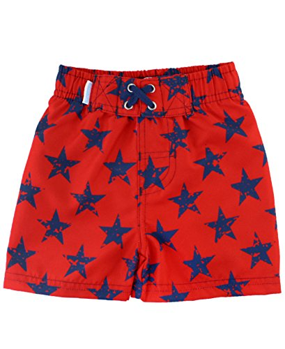 RuggedButts Little Boys Red and Navy Blue Star Adjustable Waist Swim Trunks - 4T ()