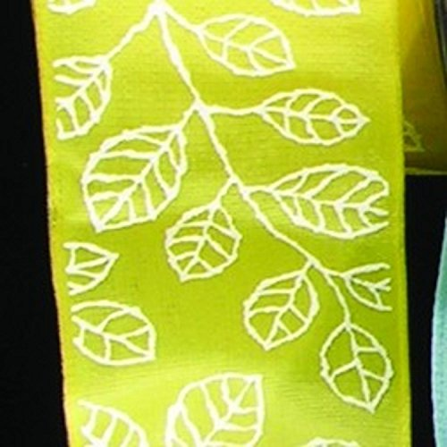 Yellow Taffeta with White Leaf Print Wired Craft Ribbon 1.5