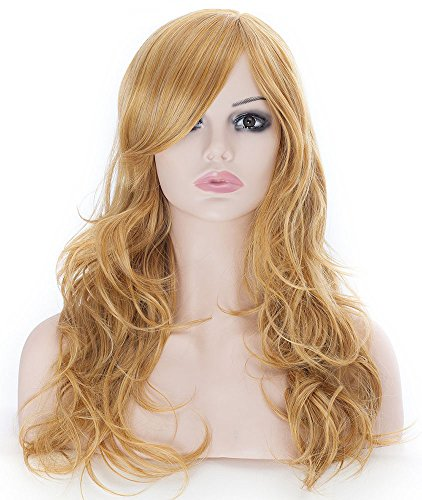 Wigs Comb Halloween (Curly Wig Attractive Women Mid-length Layered Curly Wig with Free Wig Cap and Wig Comb)