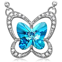 LADY COLOUR ♥Gift Idea for Christmas♥ Blue Butterfly Necklace Women Jewelry Made with Swarovski Crystals